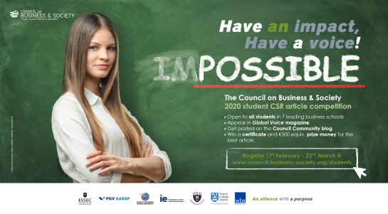 Council on Business & Society 2020 student article writing competition