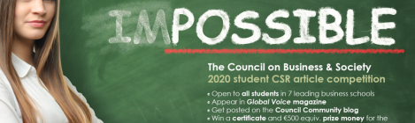 Council on Business & Society 2020 student CSR article competition